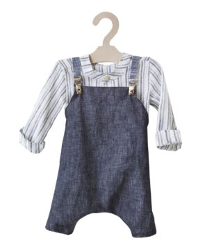 SET of LINEN JEAN DUNGAREES & STRIPED SHIRT