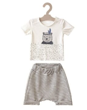 "SET of STRIPED SHORT SLOUCHY PANTS  & BLOUSE ""BEAR"""