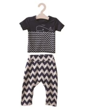 SET of SHORT SLOUCHY PANTS CHEVRON & BLOUSE